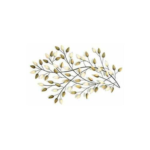 "60"" X 1.25"" X 2"" Brushed Gold Flowing Leaves Wall Decor"