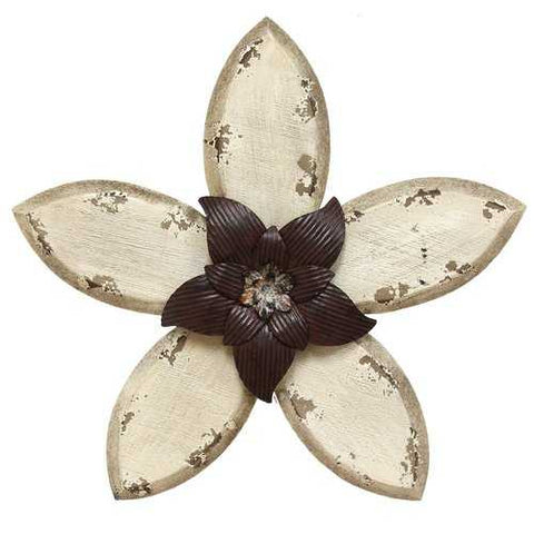 "14.75"" X 1.18"" X 13.98"" White on Espresso Antique Flower Wall Decor"