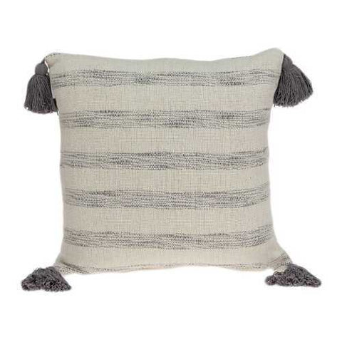 "18"" x 0.5"" x 18"" Transitional Beige Printed Striped Tassel Pillow Cover"