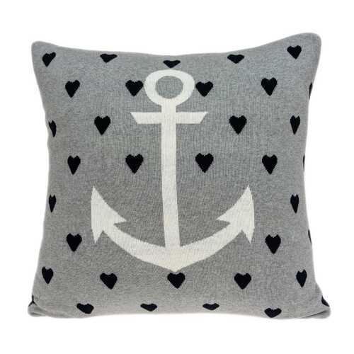 "18"" x 0.5"" x 18"" Nautical Blue Pillow Cover - www.myhomeandgardendecor.com"