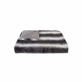 "50"" x 60"" Irving Charcoal/White Fur - Throw - www.myhomeandgardendecor.com"