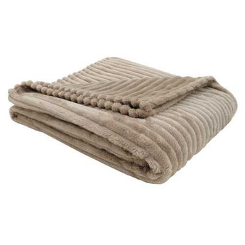 "50"" x 60"" Beige Ultra Soft Ribbed Style  Throw"