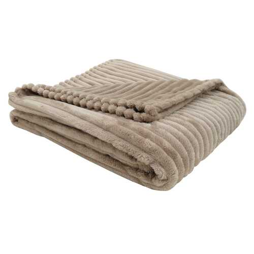 "50"" x 60"" Beige Ultra Soft Ribbed Style  Throw - www.myhomeandgardendecor.com"