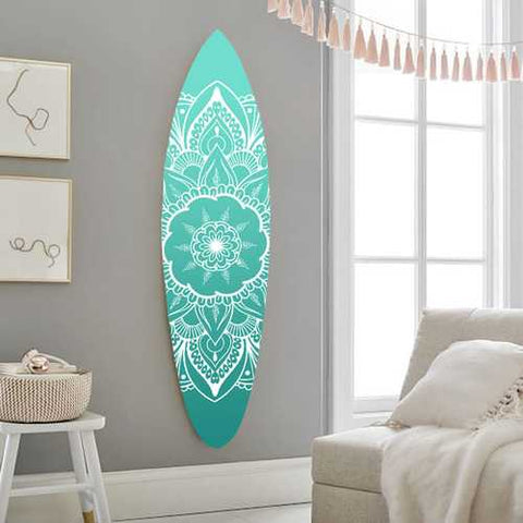 "18"" x 1"" x 76"" Wood, Blue, Serenity Surfboard Wall Art"