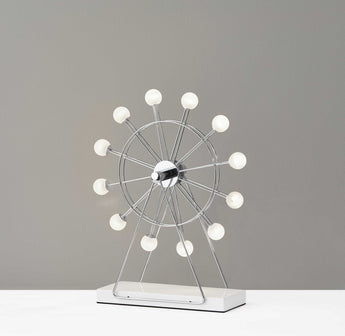 "12"" X 4"" X 15.25"" Chrome Metal Small LED Ferris Wheel Lamp - www.myhomeandgardendecor.com"