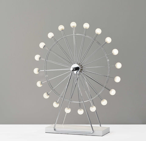 "18"" X 5.25"" X 22"" Chrome Metal Large LED Ferris Wheel Lamp"