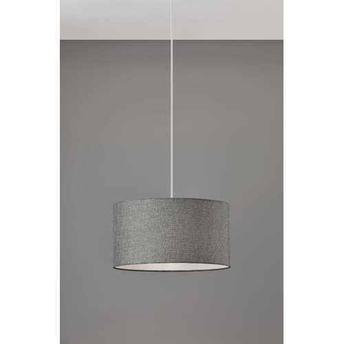 "15"" X 15"" X 8"" Grey Shade Drum Pendant"
