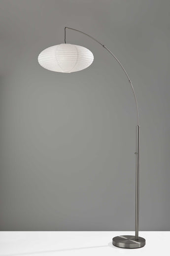 "20"" X 42"" X 80"" Brushed Steel Metal Arc Lamp - www.myhomeandgardendecor.com"