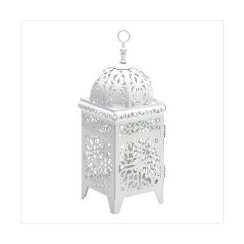 White Scrollwork Candle Lantern (pack of 1 EA)