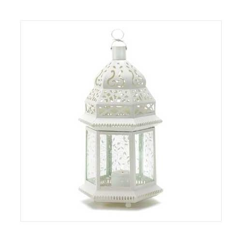 Large White Moroccan Lantern (pack of 1