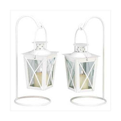 White Railroad Candle Lanterns (pack of 1 PR)