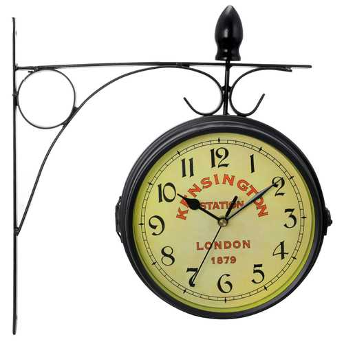 Bedford Clock Collection Double Sided Wall Clock Vintage Antique-Look Mount Station Clock - www.myhomeandgardendecor.com