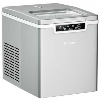 26Lbs/24H Portable Ice Maker Machine Countertop   - Color: Silver - www.myhomeandgardendecor.com