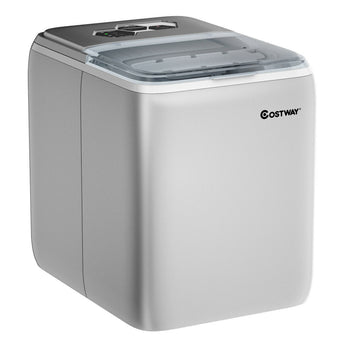 44 lbs Portable Countertop Ice Maker Machine with Scoop-Silver - Color: Silver - www.myhomeandgardendecor.com