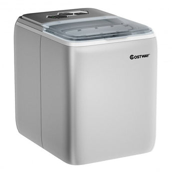 44 lbs Portable Countertop Ice Maker Machine with Scoop-Silver - www.myhomeandgardendecor.com