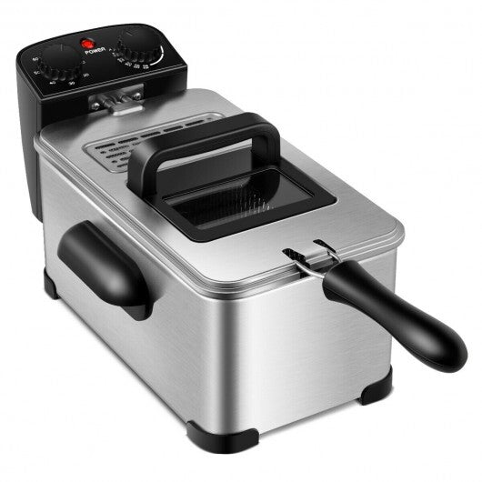 3.2 Quart Electric Stainless Steel Deep Fryer with Timer - www.myhomeandgardendecor.com