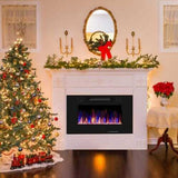 "30"" Recessed Ultra Thin Electric Fireplace Heater with Glass  Appearance - www.myhomeandgardendecor.com"