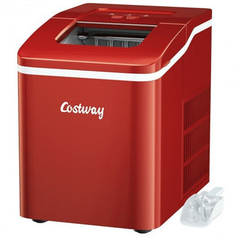 Portable Countertop Ice Maker Machine with Scoop-Red - Color: Red - www.myhomeandgardendecor.com