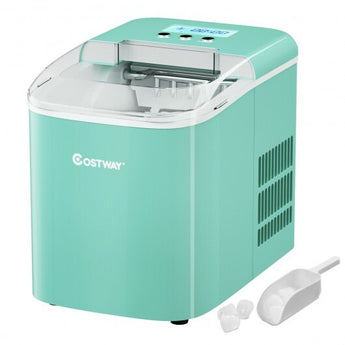 26 lbs Countertop LCD Display Ice Maker with Ice Scoop-Light Green - Color: Light Green - www.myhomeandgardendecor.com