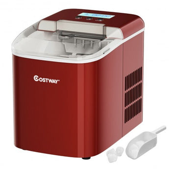 26 lbs Countertop LCD Display Ice Maker with Ice Scoop-Red - Color: Red