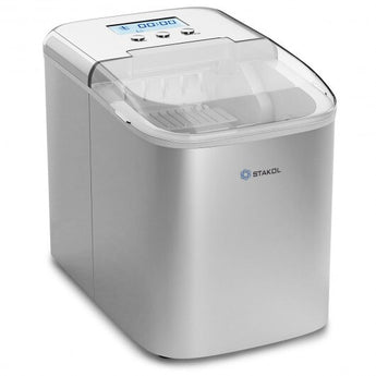 26 lbs Countertop LCD Display Ice Maker with Ice Scoop - Color: Stain Gray