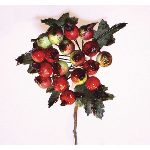 Christmas Floral Blueberry Pick Assorted Matte Red and Matte Burgundy - www.greenhutdecor.com