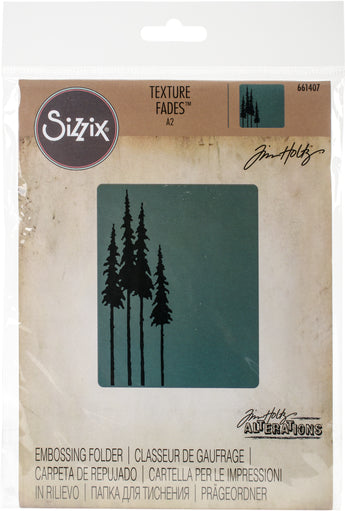 Sizzix Texture Fades A2 Embossing Folder-Tall Pines By Tim Holtz