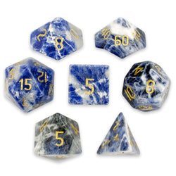 Set of 7 Handmade Stone Polyhedral Dice, Sodalite