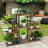 6-Tier Flower Wood Stand Plant Display Rack Storage Shelf