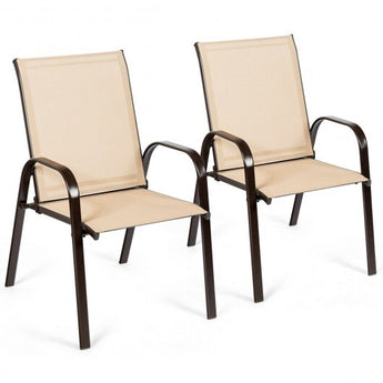 2 Pcs Patio Chairs Outdoor Dining Chair with Armrest-Beige - Color: Beige - www.myhomeandgardendecor.com