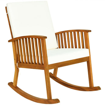 Outdoor Acacia Garden Wood Rocking Chair - www.myhomeandgardendecor.com