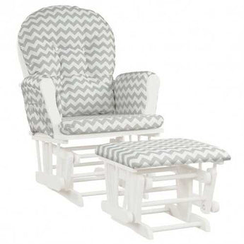 Baby Nursery Relax Rocker Rocking Chair Glider & Ottoman Set-Gray - Color: Stripe - www.myhomeandgardendecor.com