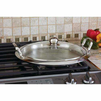 12-Element High-Quality Stainless Steel Round Griddle with See-Thru Glass Cover - www.myhomeandgardendecor.com