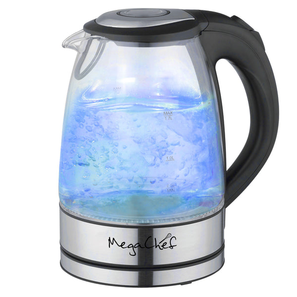 MegaChef 1.7Lt. Glass and Stainless Steel Electric Tea Kettle - www.myhomeandgardendecor.com
