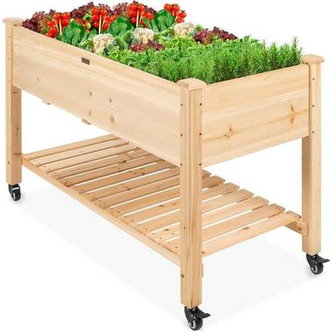 Solid Wood Locking Wheels Raised Mobile Garden Wood Planter Elevated Planter