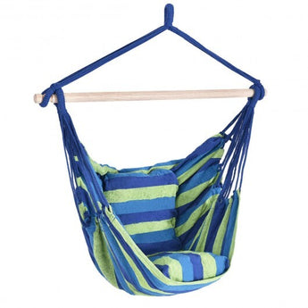 4 Color Deluxe Hammock Rope Chair Porch Yard Tree Hanging Air Swing Outdoor-Blue and Green - Color: Blue & Green - www.myhomeandgardendecor.com