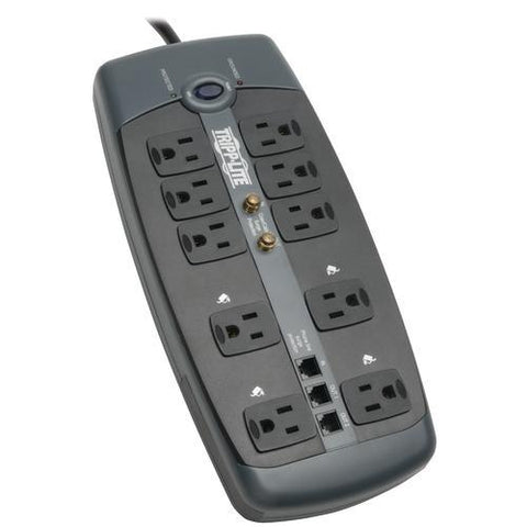 Tripp Lite 10-outlet Surge Protector With Telephone Protection (with Coaxial And Modem Protection, 3,345 Joules) (pack of 1 Ea)