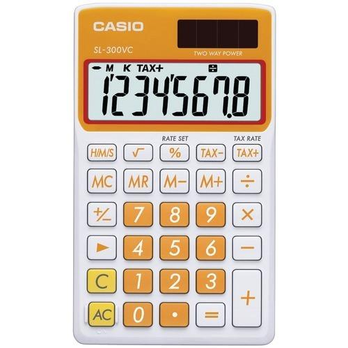 Casio Solar Wallet Calculator With 8-digit Display (orange) (pack of 1 Ea)