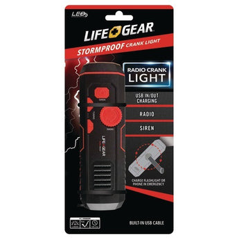 Life+gear 120-lumen Stormproof Usb Crank Flashlight & Radio (pack of 1 Ea) - www.myhomeandgardendecor.com