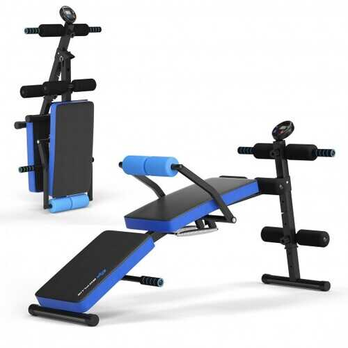 Multi-Functional Foldable Weight Bench Adjustable Sit-up Board with Monitor-Blue - Color: Blue - www.myhomeandgardendecor.com