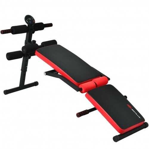 Multi-Functional Foldable Weight Bench Adjustable Sit-up Board with Monitor-Red - Color: Red - www.myhomeandgardendecor.com