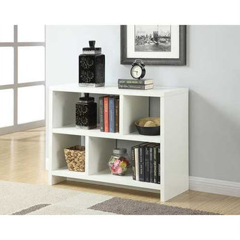 White 2-Shelf Modern Bookcase Console Table - www.myhomeandgardendecor.com