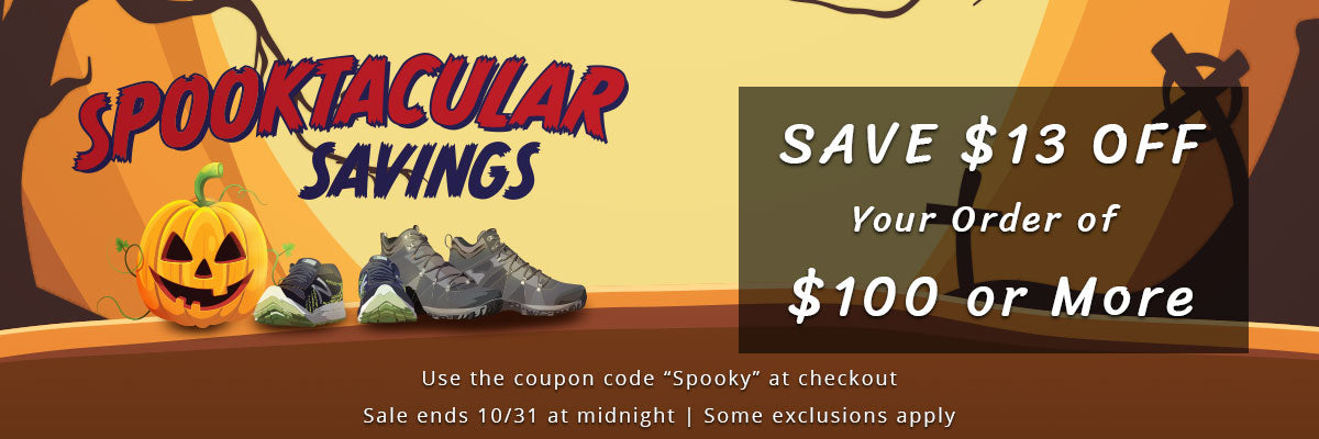 "Save $13 OFF Your order of $100 or More | Use the coupon code ""spooky"" at checkout 