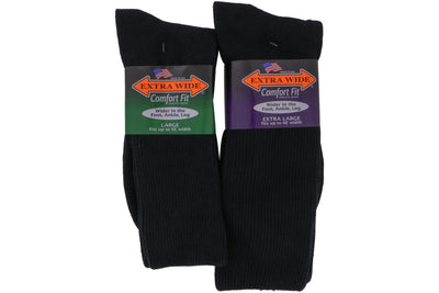 Extra Wide Socks Crew Black