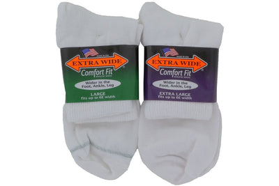Extra Wide Socks Quarter White