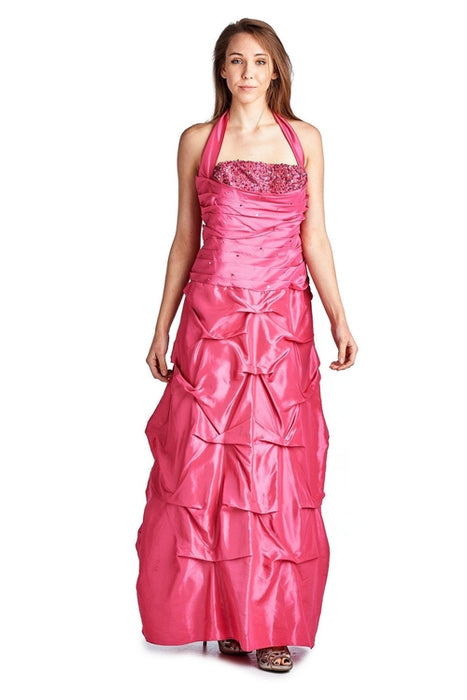 Women's Taffeta Beaded Top Pickup Gown