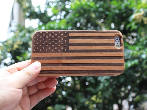 Wood USA Flag iPhone Case