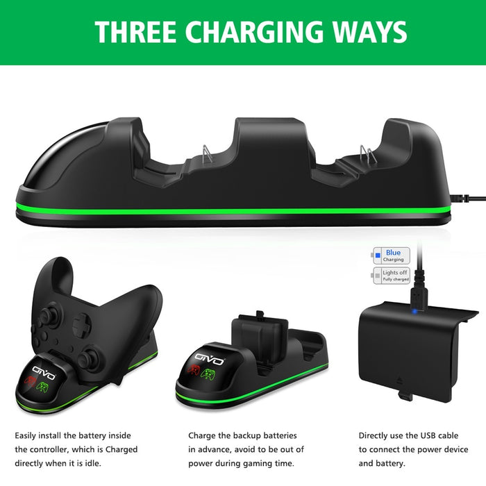 Dual Controller Charger for Xbox One/One S/One X/One Elite, Dual Controller Charging Dock with LED Indicators
