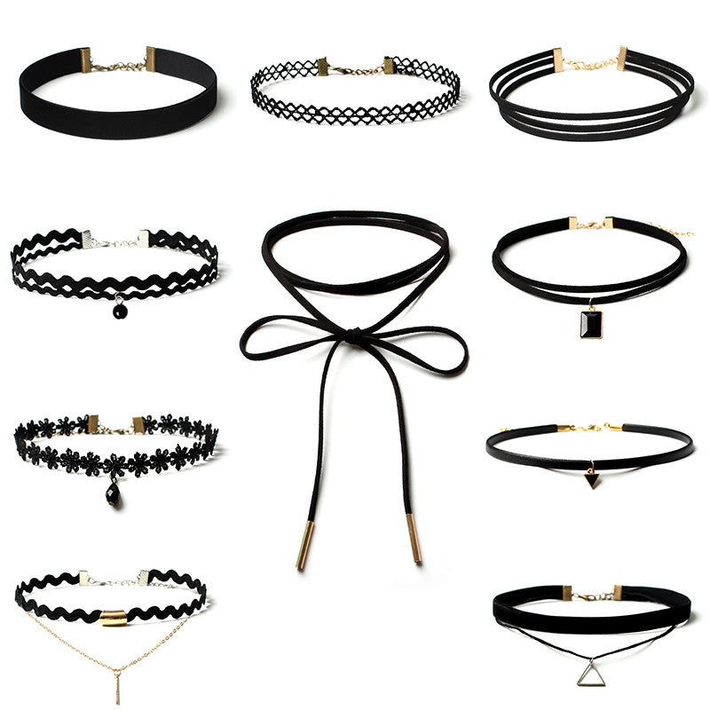 10 Pcs/pack  Black Lace Leather Velet strip Choker Necklace