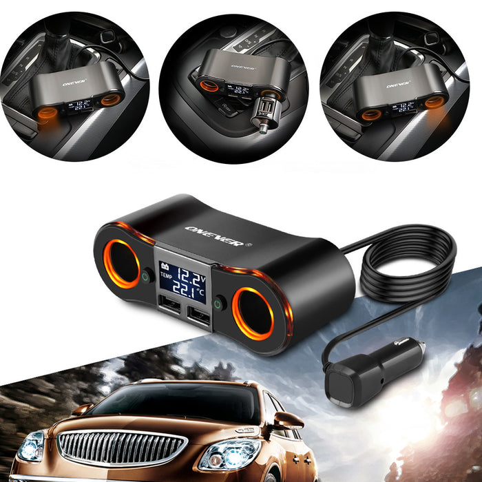 TechKara ONEVER Car Lighter Socket Splitter with Dual USB Charger Temp LED Display